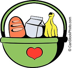 Basket with food icon, icon cartoon