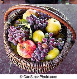 Basket with fresh fruits