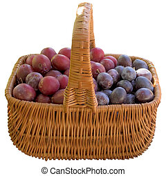 Basket with fresh plums.