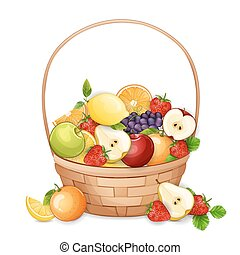 Basket with fresh,delicious fruits.