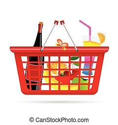 basket with fruit vector illustration