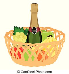 Basket with fruits and champagne bottle