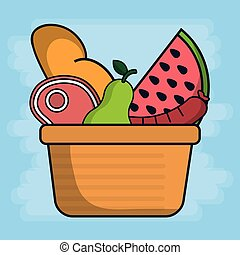 basket with fruits and food icon