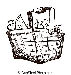 basket with fruits and vegetables icon image