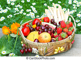 Basket with fruits and vegetables