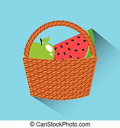 basket with fruits icon