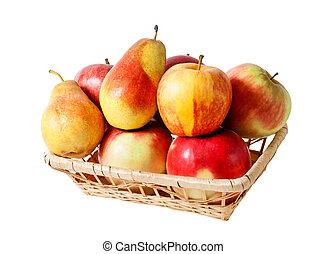 Basket with fruits isolated on white background