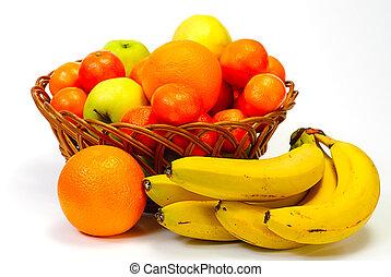 Basket with fruits, isolated on white background