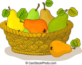 Basket with fruits, pears - Wattled basket with fruits,...