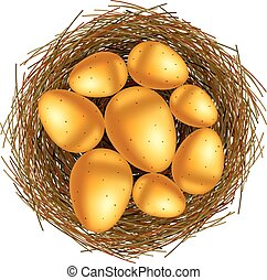 Basket with gold eggs