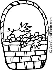 basket with grapes icon. hand drawn in simple liner scandinavian style. Thanksgiving