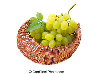 basket with grapes isolated on white