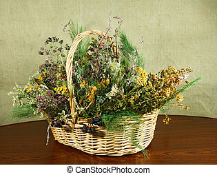 Basket with healing herbs.