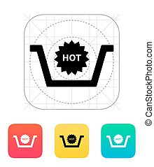 Basket with hot product icon.
