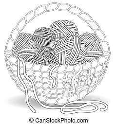 Basket with multi-colored tangles in a square Frame of multi-colored balls of wool
