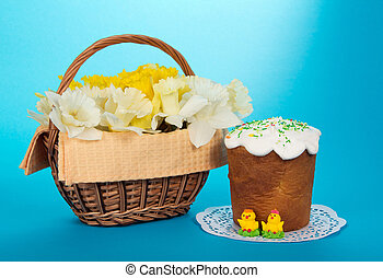 Basket with narcissuses and Ester cake - Basket with white...