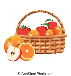 basket with oranges and apples design