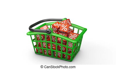 basket with percentages - Green shopping basket in which...