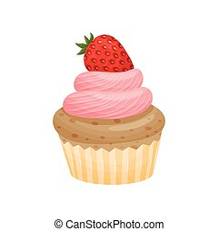 Basket with pink cream. Vector illustration on white background.