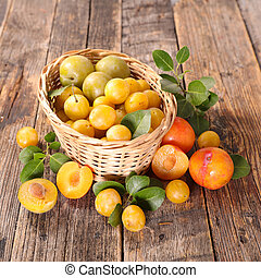basket with plum