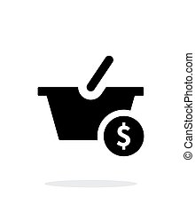 Basket with price simple icon on white background.