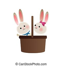 basket with rabbits cartoon icon