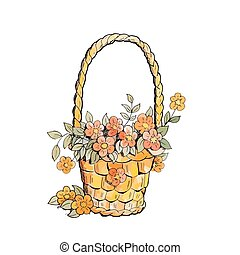 Basket with red flowers