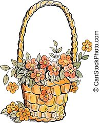 Basket with red flowers.