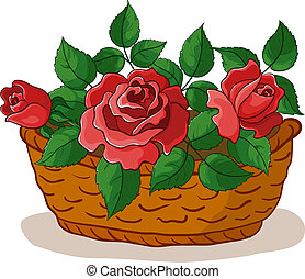 Basket with roses - Vector, wattled basket with flowers red...