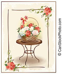 Basket  with roses.  Vintage birthday card. Holiday congratulation. Greeting card. Floral frame. Victorian style