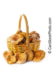 Basket with saffron milk caps or red pine mushrroms isolated on a white background
