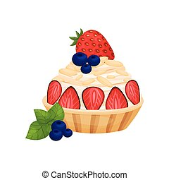 Basket with strawberry cream. Vector illustration on white background.