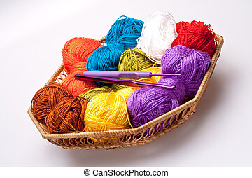 basket with thread and balls for knitting