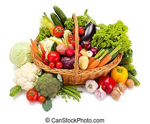 Basket with various fresh vegetables