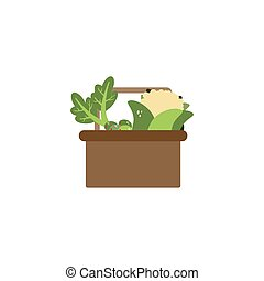 basket with vegetables flat style icon