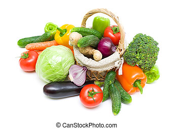basket with vegetables on a white background