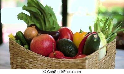 Basket with vegetables.