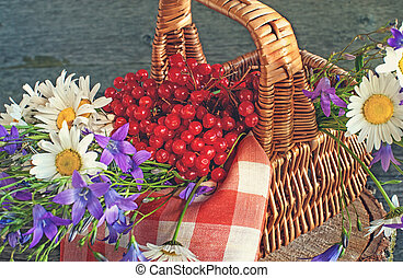 Basket with viburnum, and wildflowers bluebells and daisies on a red napkin in the sun . Wooden background.