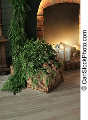 basket with wood fireplace