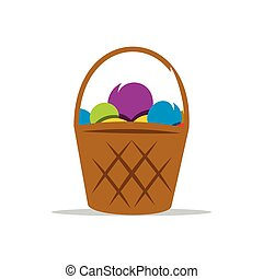 Basket with Yarn Vector Cartoon Illustration.
