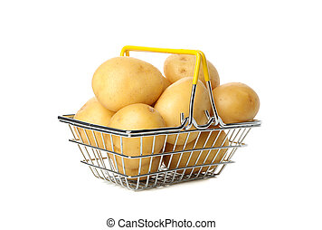 Basket with young potato isolated on white background