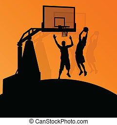 basketbal, abstract, jonge, illustratie, spelers,...