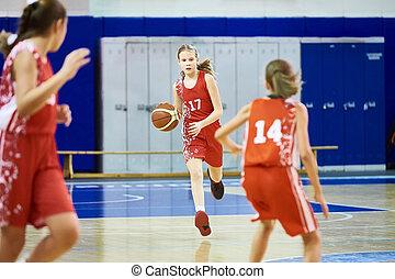 basketbal, atleet, meiden, uniform, sportende, spelend