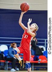 basketbal, atleet, vingers, uniform, meisje, letsel, spelend