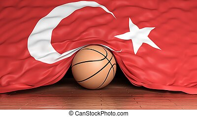 basketbal bal, met, vlag, van, turkije, op, parketvloer