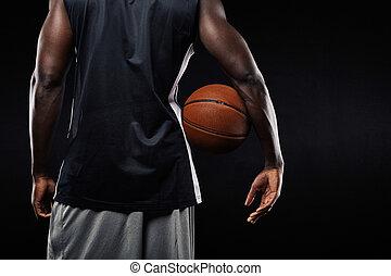 basketbal bal, speler, zijn, afrikaan, arm