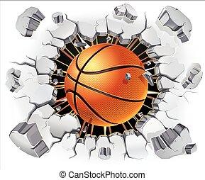 basketbal, en, oud, wondpleister muur