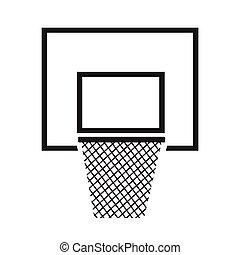 basketbal, illustratie, backboard, ontwerp, net, pictogram