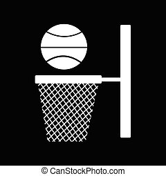 basketbal, illustratie, backboard, ontwerp, net, pictogram