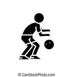 basketbal, illustratie, vrijstaand, meldingsbord, speler, vector, zwarte achtergrond, pictogram